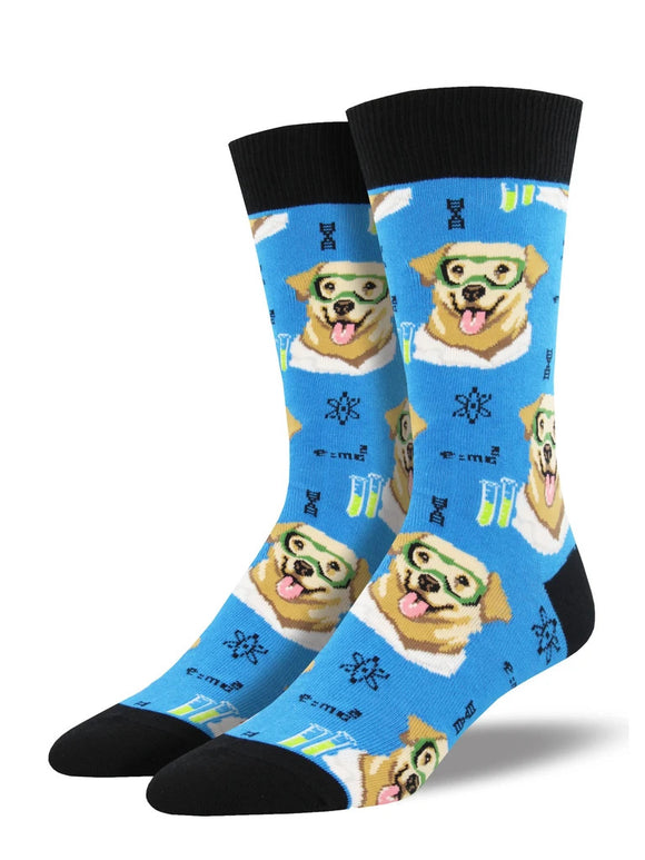 Men's Socksmith Science Lab-Rador Dog Socks in Blue