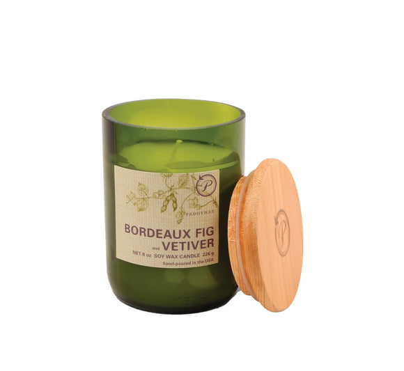 Paddywax 8 oz Glass & Wood Soy Candle Bordeaux Fig and Vetiver