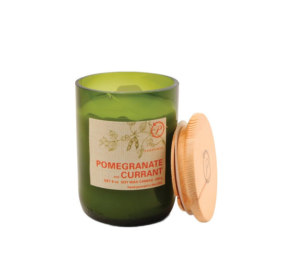Paddywax 8 oz Glass & Wood Soy Candle Pomegranate and Currant