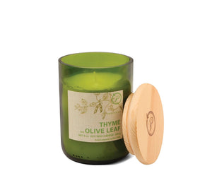 Paddywax 8 oz Glass & Wood Soy Candle Thyme and Olive Leaf