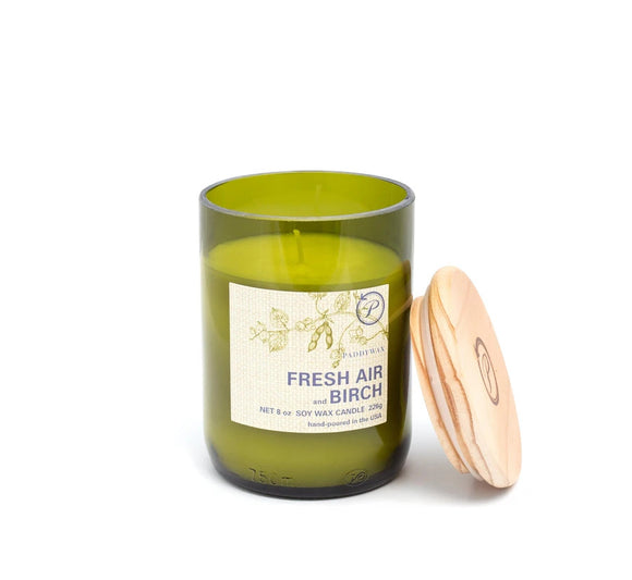 Paddywax 8 oz Glass & Wood Soy Candle Fresh Air and Birch