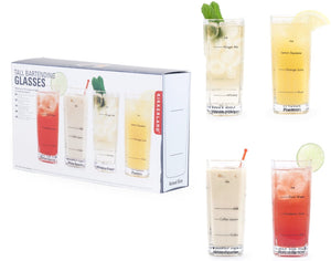 Tall Bartending Mixology Glasses Set of 4 with Recipes