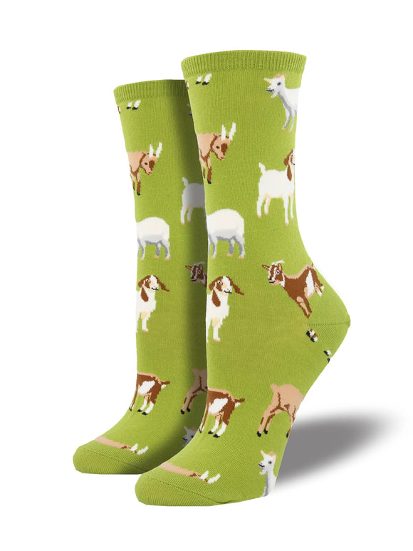 Women's Socksmith Silly Billy Goat Socks in Fern Green