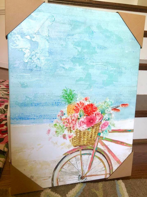 Bicycle with Flowers Beachy Wall Art