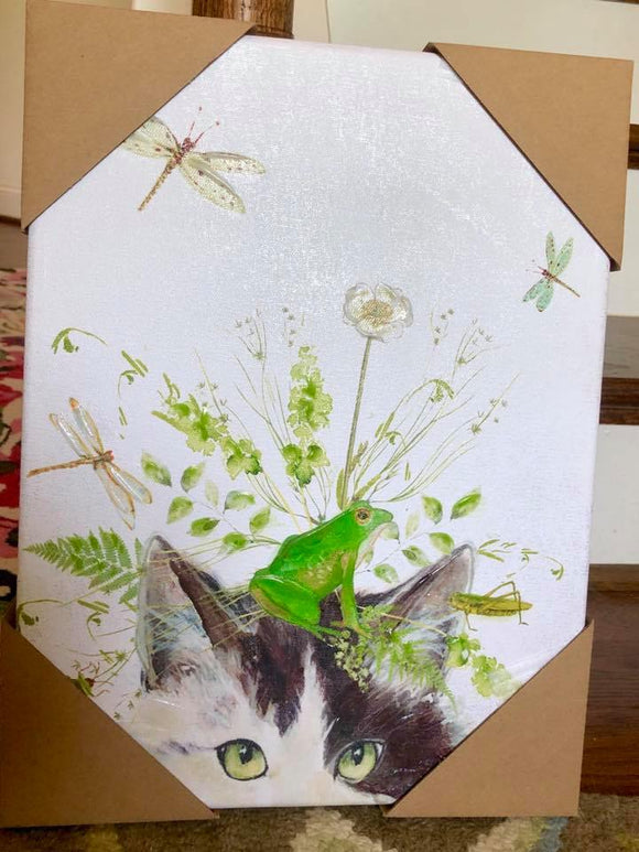 Fluffy Cat with Flowers, Frog & Dragonfly Art