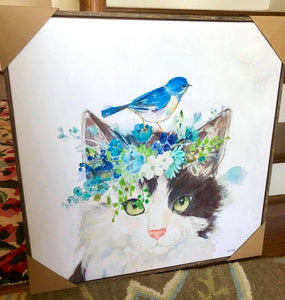 Fluffy Cat with Flower Crown & Bees Framed Art by Kathryn White - 3 sizes & Pillow