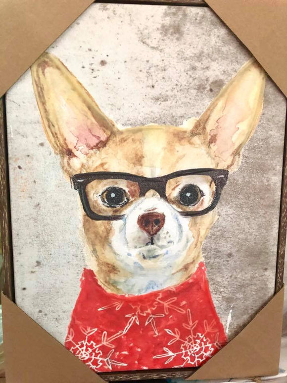 Hipster Chihuahua in Glasses Wall Art