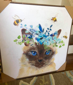 Siamese Cat with Flower Crown & Bees Art - Available in 3 Sizes & a Pillow