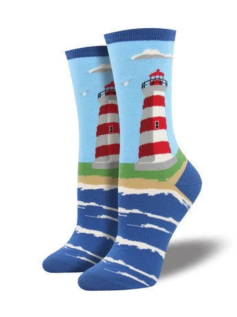 Women's Socksmith Lighthouse Socks in Sky Blue