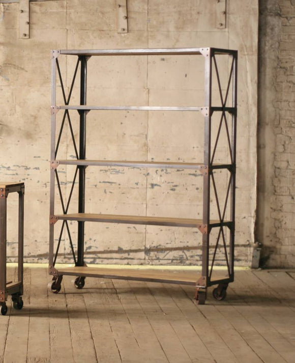 Large Industrial Bookshelf on Casters
