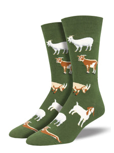 Men's Socksmith Silly Billy Goat Socks in Fern Green