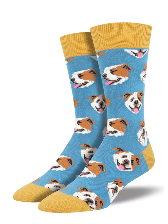 Men's Socksmith Incredibull Bull Dog Socks in Sky Blue