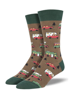 Men's Socksmith Are We There Yet? Camper Socks In Brown