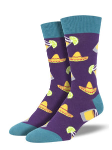 Men's Socksmith Fiesta Friday Tequila Shots Socks in Purple