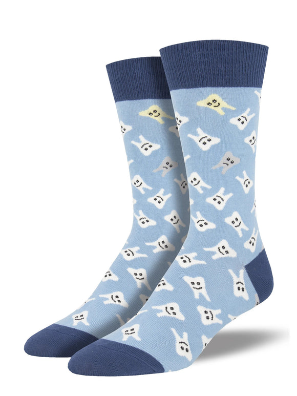 Men's Socksmith Happy Teeth in Light Blue Socks