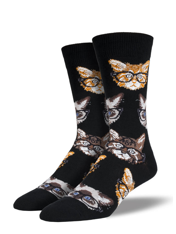 Men's Socksmith Kittenster Cat Hipster Socks in Black