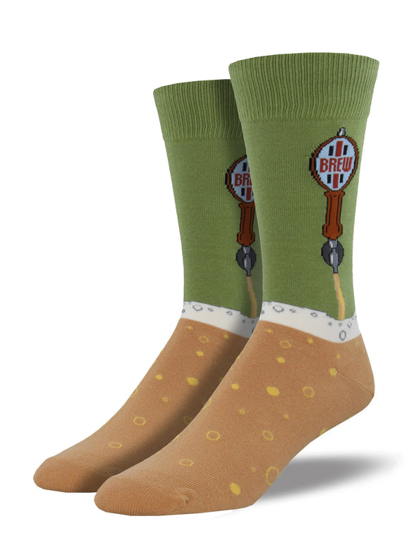 Men's Socksmith Beer Taps Socks in Moss Green