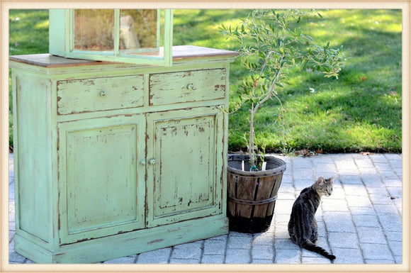 Vintage Celadon Green Distressed Cabinet - Local Pick Up Only