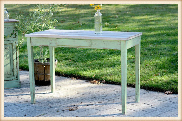 Vintage Celadon Green Distressed Table or Desk