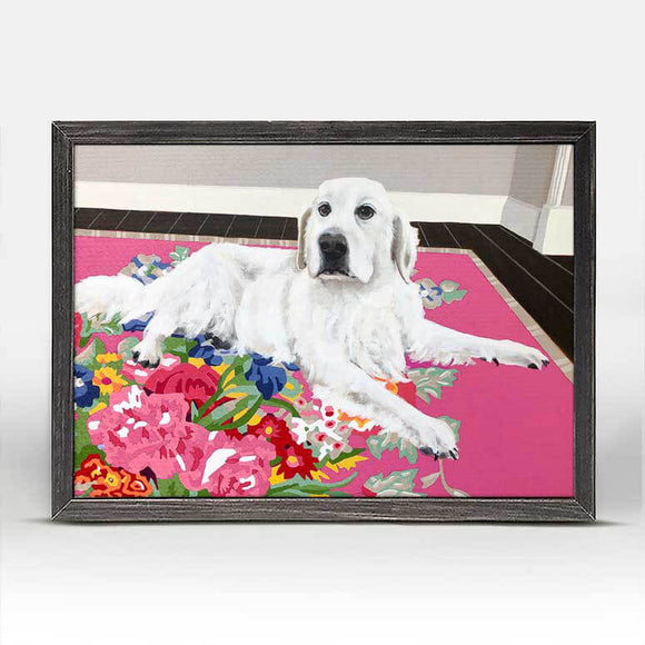 "Dog Tales Huddy White Golden Retriever Dog 5x7"" Framed Canvas Art by Jay McClellan"