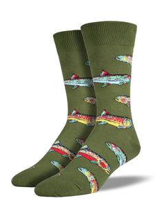 Men's Socksmith Trout Fishing Socks in Parrot Green