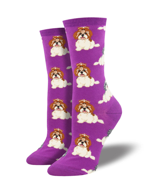 Women's Socksmith I Shih Tzu Not Dog Socks in Purple