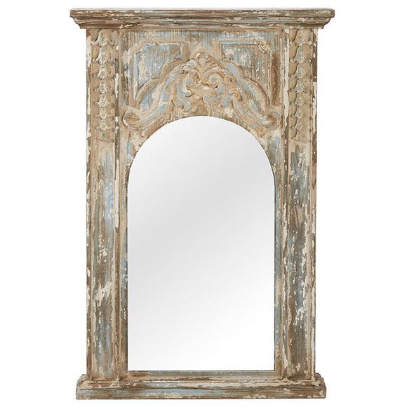 Blue and Cream Distressed Mirror