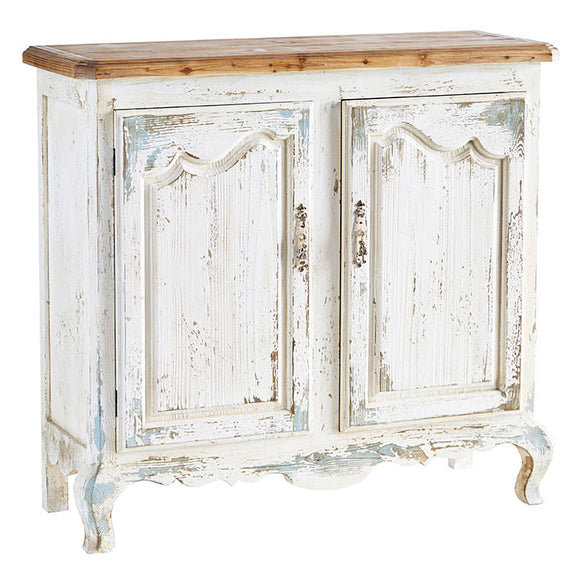 French 2 Door Distressed Cabinet
