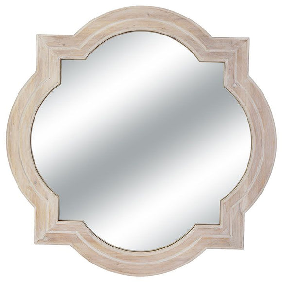 Quatrefoil White Washed Mirror