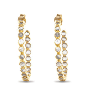 Clear Stone Hoop Earrings on Gold