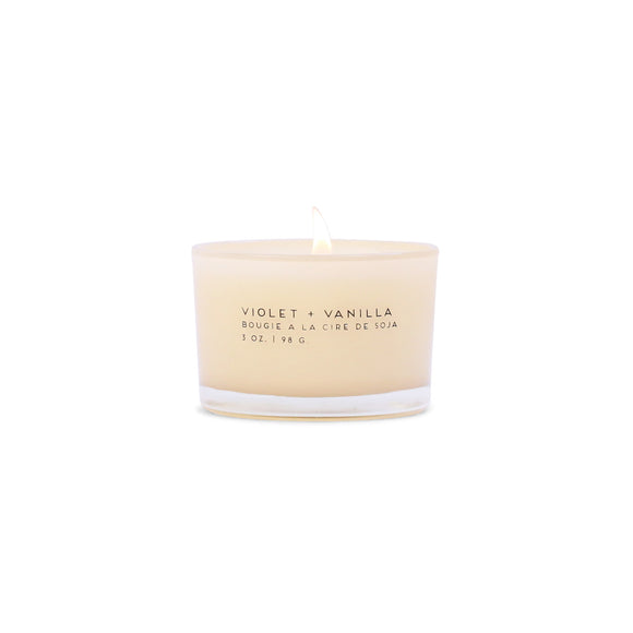 Vanilla + Violet Paddywax Statement Candle 3oz in Glass