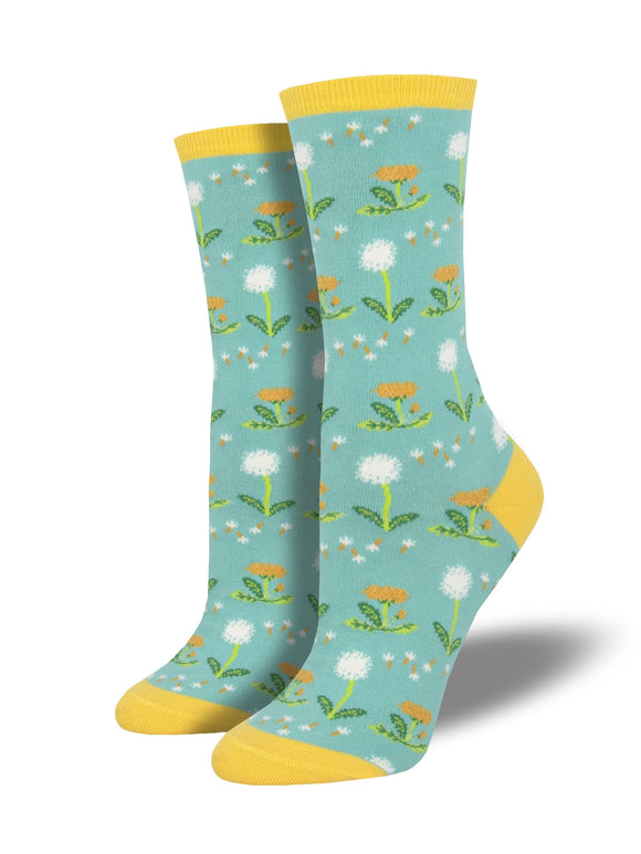 Women's Socksmith Wishes in the Wind Dandelion Socks in Sky Blue