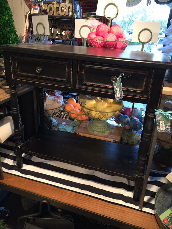Small Black Table with 2 Drawers – Sold AS Is