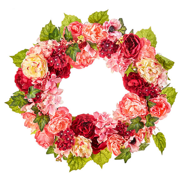 "22"" Pink, Magenta and Cream Hydrangea etc Floral Wreath"