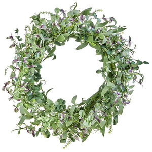 "23"" Mixed Greenery and Lavender Wreath"