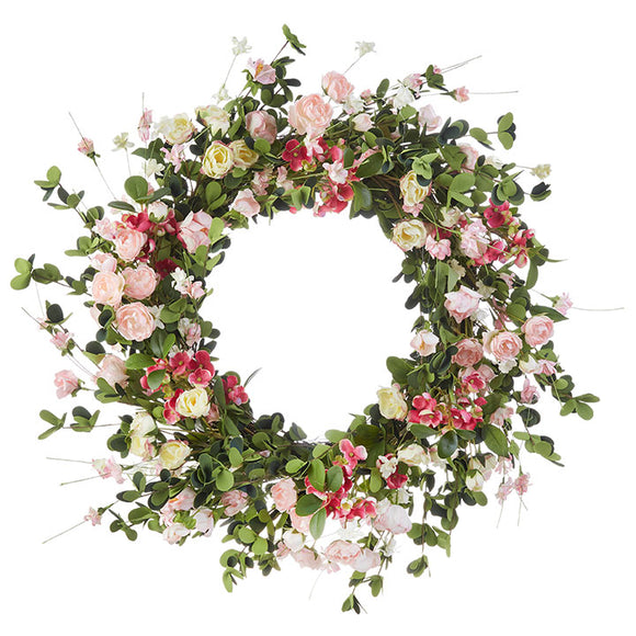"24"" Spring Mixed Floral Wreath in Pinks and Creams"