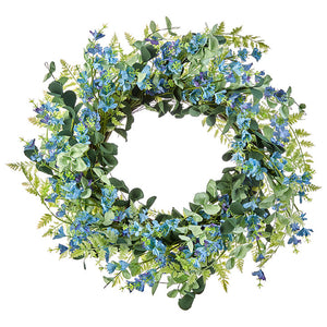 "Blue Floral 24"" Wreath"