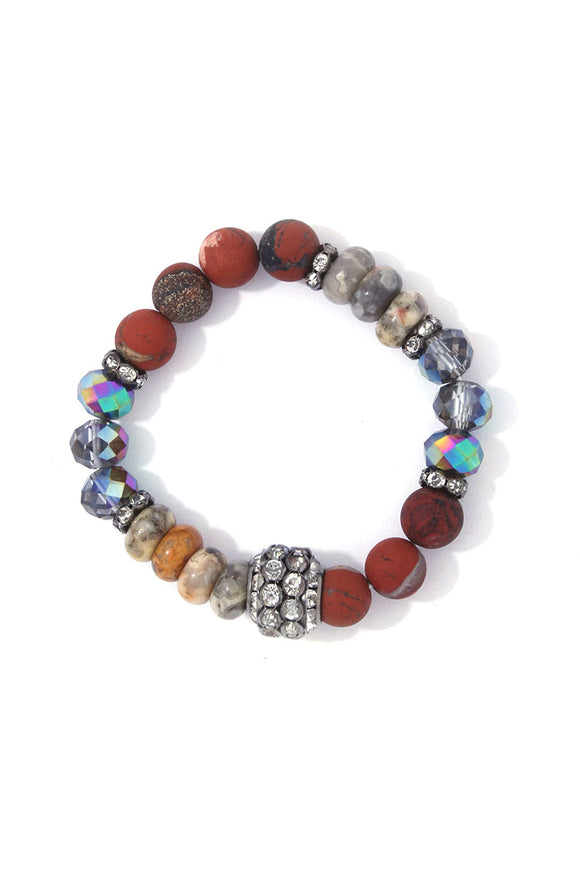 Multi Bead Stretch Bracelet with Silver Crystal Bead Accents