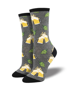 Women's Socksmith Hoppier Together Beer Socks in Gray Heather