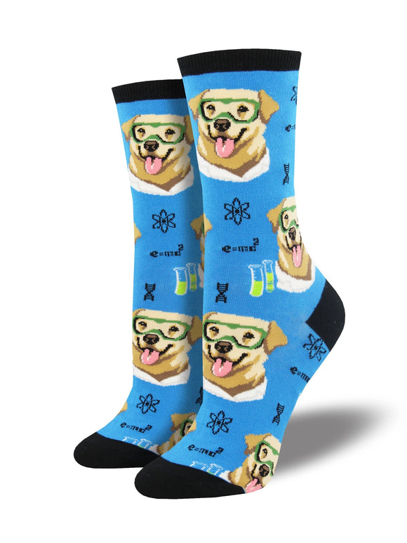 Women's Socksmith Science Lab-Rador Dog Socks in Blue