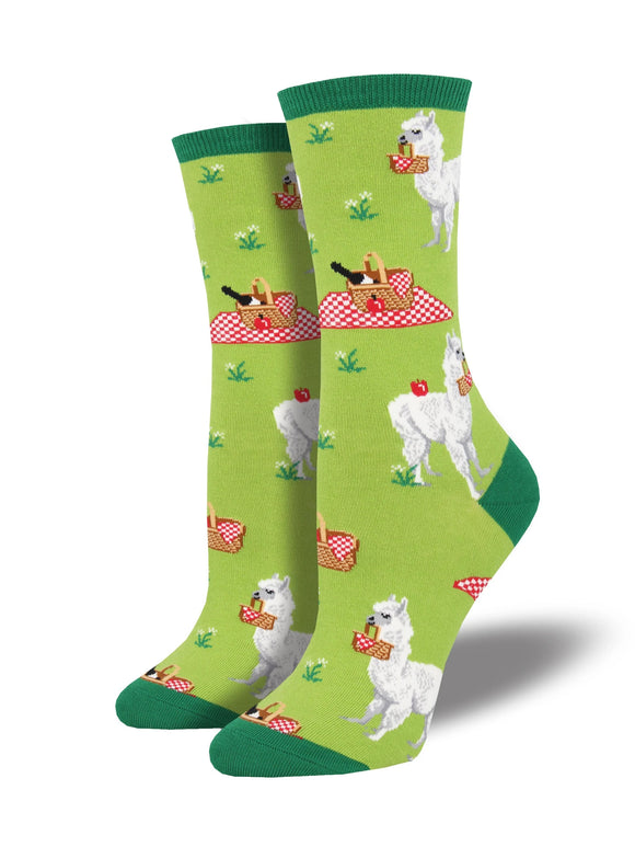 Women's Socksmith Alpaca Lunch Llama Socks in Green