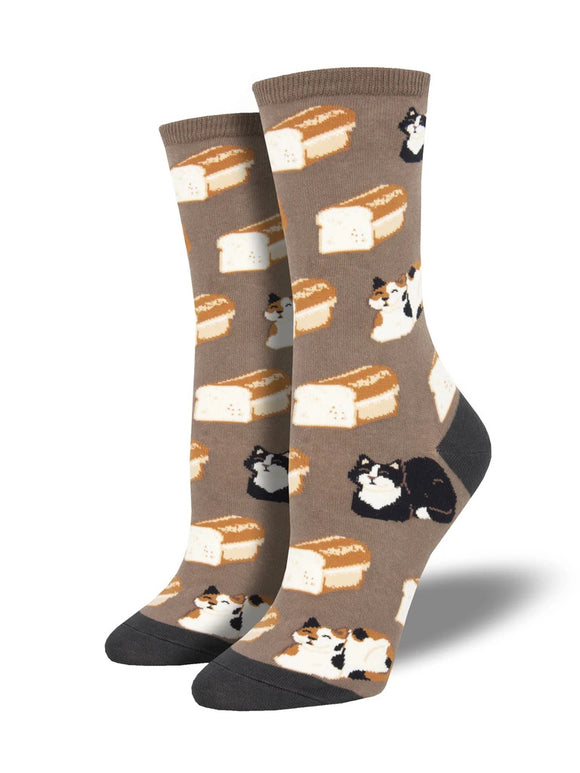 Women's Socksmith Cat Loaf Socks in Brown