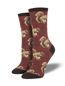Women's Socksmith Nuts About Fall Squirrel Socks in Red