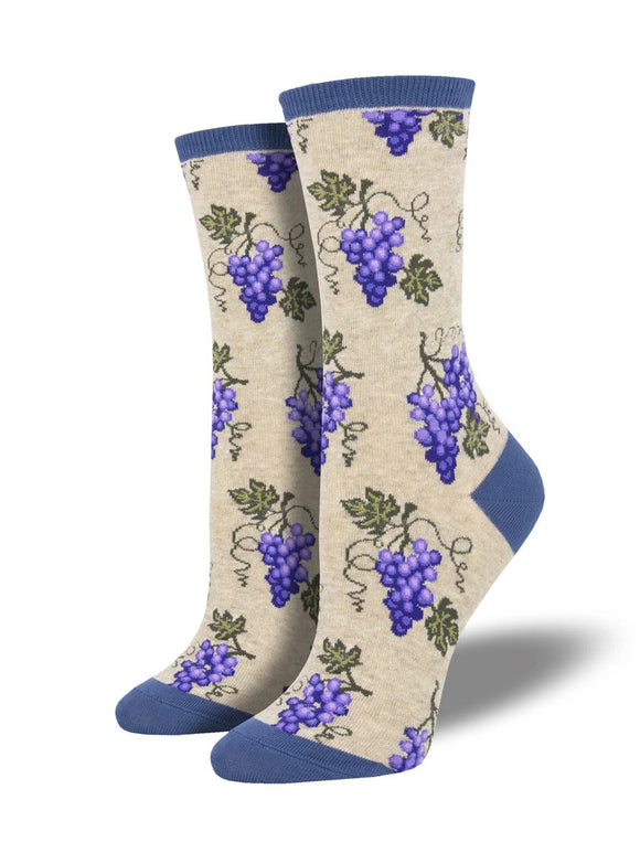 Women's Socksmith One Fine Vine Grapes Socks in Oatmeal