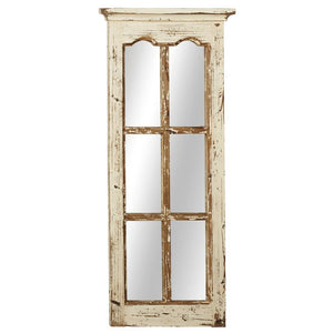 Window Pane Mirror in Antique White