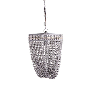 Wood Beaded Gray Chandelier – Plug in or Hard Wire