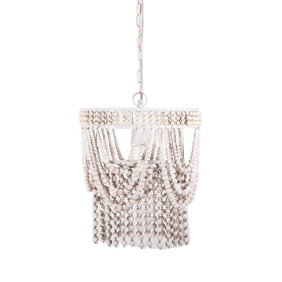 Wood Beaded White Chandelier – Plug in or Hard Wire