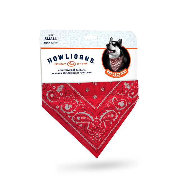 Reflective Dog Bandana in Red - Small