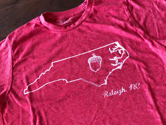 Men's Little Raleigh Acorn on North Carolina State T-Shirt in Red House of Swank