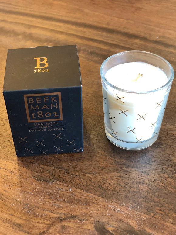 Beekman Oak Moss Soy Wax Candle in Glass Jar